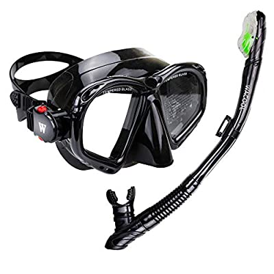 WACOOL Snorkeling Package Set for Adults, Anti-Fog Coated Glass Diving Mask, Snorkel with Silicon Mouth Piece,Purge Valve and Anti-Splash Guard (Black)