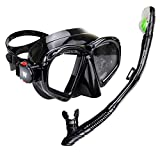 WACOOL Snorkeling Package Set for Adults, Anti-Fog Coated Glass Diving Mask, Snorkel