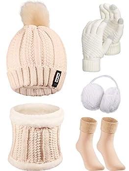 5 Pieces Women Winter Ski Outing Set Knit Hat Scarf Gloves Earmuffs Stockings  Beige Khaki