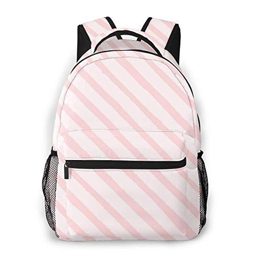 Lawenp School Backpacks Diagonal Pink Stripes for Teen Girls&Boys 16 Inch Backpack Student Bookbags Laptop Casual Rucksack Travel Backpack