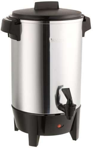 West Bend 58030 Highly Polished Aluminum Party Perk Coffee Urn Features Automatic Temperature Control Large Capacity with Quick Brewing Smooth Prep and Easy Clean Up, 30-Cup, Silver (Renewed)