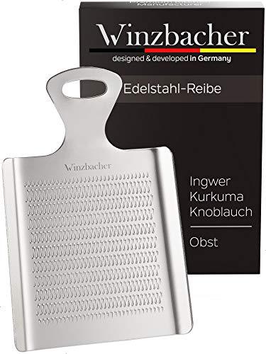Winzbacher® DAS ORIGINAL - Edelstahl Ingwerreibe | ideal für Ingwer, Kurkuma, Knoblauch und Obst | Spülmaschinenfest | Optimal für die Zubereitung von Ingwertee & Obstbrei