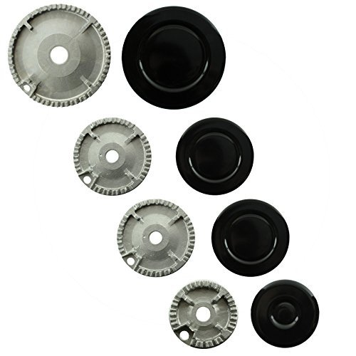 SPARES2GO (Non Universal) Oven Cooker Hob Gas Burner Crown & Flame Cap Kit for Lamona (Small, 2 Medium & Large, 55mm - 100mm)
