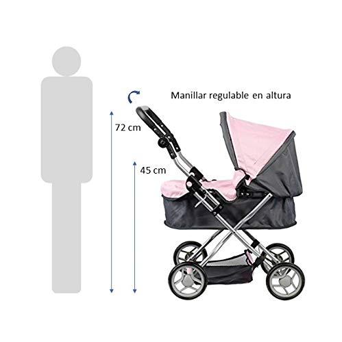 Puppenwagen - Carro hood - einstellbare Lenkerhöhe : 45 - 72 cm - Falt