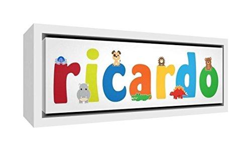 Little Helper Impression sur toile encadrée bois blanc, dessin personnalisée avec nom de garçons Ricardo 34 x 88 x 3 cm multicolore