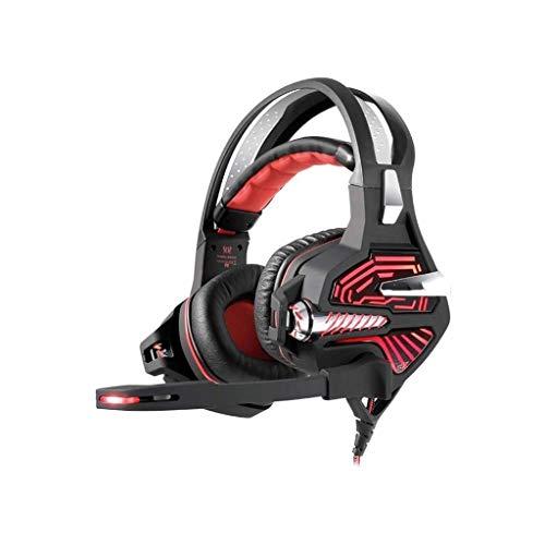 Casque de Jeu, avec Microphone, Vibration Casque Casque Ordinateur 7.1 canaux Casque Audio 3D Gaming (Color : Red)