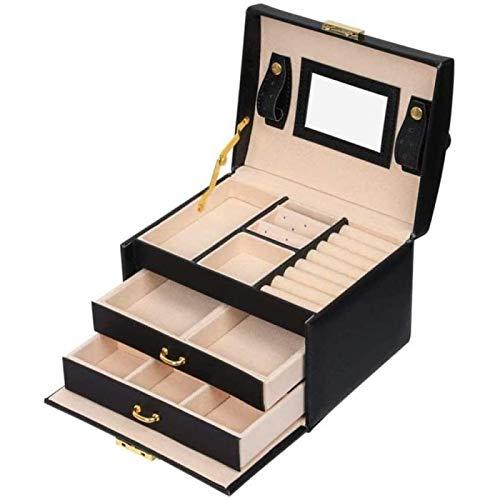 ZHANG Organizador de Caja de Joyería con Espejo de Alta Capacidad con Mango Caja de Almacenamiento de Joyería Decorativa de Madera de Cuero