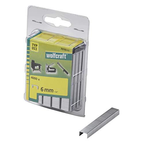 Wolfcraft 7016000 (L) grapas de lomo ancho, tipo 053 PACK 4000, 6mm,...