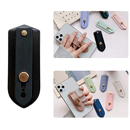 Soporte de agarre para teléfono Soporte de correa de dedo portátil Soporte de dedo para teléfono universal Charms (Negro_a)