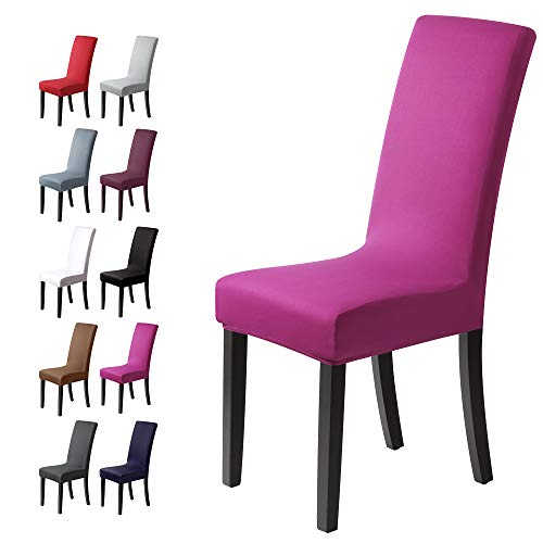 Stuhlhussen 4 Stück, Stretch-Stuhlbezug elastische moderne Husse Elasthan Stretchhusse Stuhlbezug Stuhlüberzug . bi-elastic Spannbezug, sehr pflegeleicht und langlebig Universal (4 Stück ,Violett)