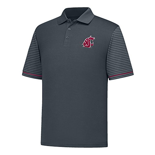 J America NCAA Washington State Cougars Men's Linebacker Ii Yd Dyed Colorbock Polo, Small, Charcoal/Cardinal