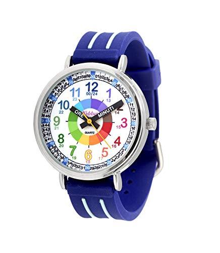 Orologi educativi KIDDUS per bambini, ragazze. Orologio da polso analogico con esercizi per imparare a leggere l'ora, movimento al quarzo giapponese, facilità di lettura dell'ora. KI10311 Lancetta
