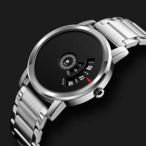 LYMUP Gentleman Ultra-Delgado Negro Plata Muchacho de los Hombres Casual Estudiante Reloj de Cuarzo de 39 mm Fino Cierre de Negocios en la Personalidad a Prueba de Agua en,Vapor (Color : Silver)