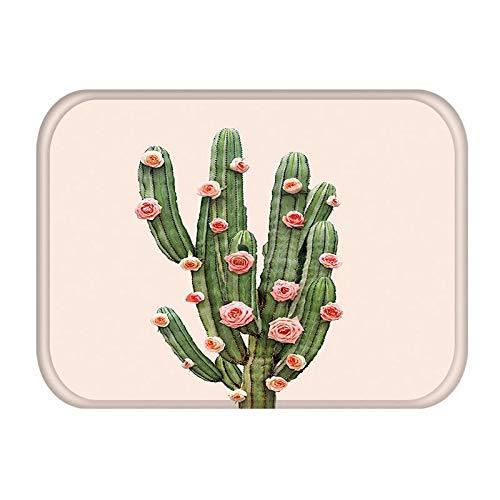 OPLJ Alfombra de Puerta de Entrada de Cocina de Cactus Alfombra de Color de Goma Alfombra de Piso Interior Antideslizante Alfombra de Cocina Lavable A10 40x60cm