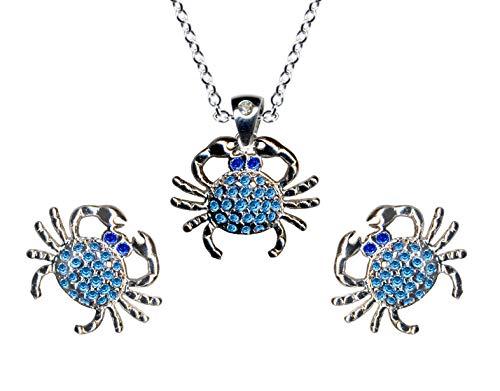 Juego de joyas de plata de ley 925, pendientes + cadena + colgante cangrejo azul collar cadena colgante colgante plata colgante pendientes pendientes circonitas cristales plata 925 nuevo