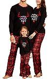 Matching Family Christmas Pajamas Set, Reindeer Plaid Printed Xmas PJs Loungewear Sleepwear for Women Men Kids (Black-Men, S)