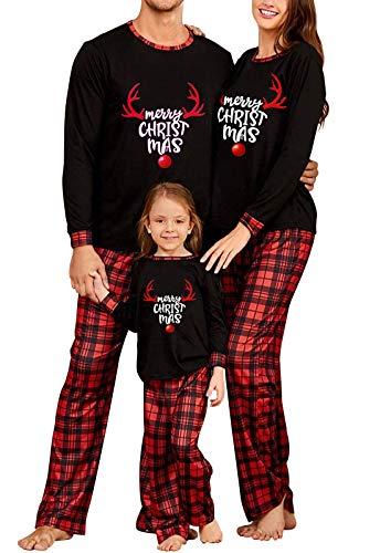 Matching Family Christmas Pajamas Set, Reindeer Plaid Printed Xmas PJs Loungewear Sleepwear for Women Men Kids (Black Kids, 8-10)