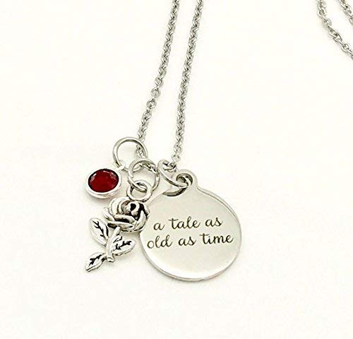 A Tale as Old as Time, Beauty and the Beast Inspired Rose Necklace with Swarovski Crystal