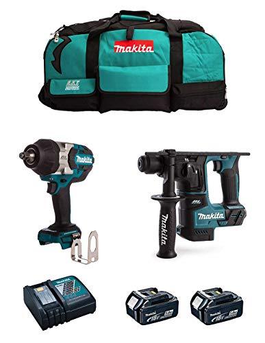 MAKITA Kit MK215 (Llave de Impacto DTW1002 + Martillo DHR171 + 2 Baterías de 5,0 Ah + Cargador + LXT600)