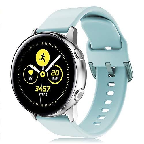 Onedream Correa Compatible con Samsung Galaxy Watch Active/Active 2 44mm 40mm Pulsera Silicona Mujer Hombre, Repuesto Compatible con Samsung Galaxy Watch 42mm/ Galaxy Watch 3 41mm Azul Claro