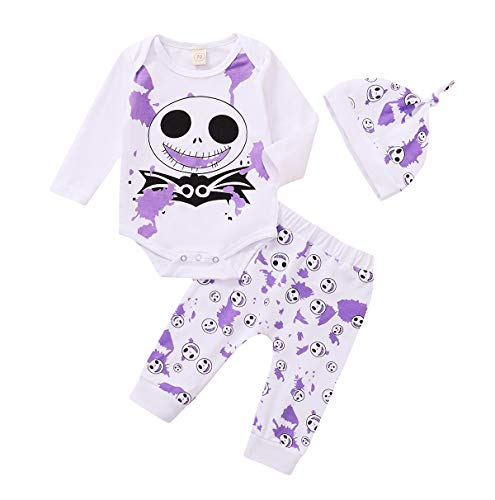 QPALZM Neonato Ragazza Halloween Outfit Nightmare Before Christmas Clothes Skull Pagliaccetto Top Fantasmi Pantaloni Cappello Set (Purple, 0-6 Months)