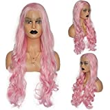 Bright Pink Wig for Women Long Natural Wave Synthetic Pink Wig Lace Front Wig Daily Wear Cosplay Party Wig 26 Inches