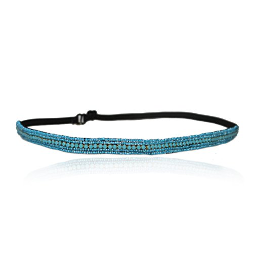 Turquoise Rhinestone and Beaded Thin Headband. Bohemian Style Headband. Elastic Band to Fit Any Size Head. Comes with Look Guide to Show You Many Styles.