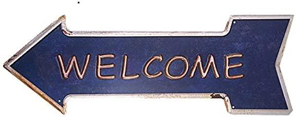 Dingleiever Welcome Arrow Irregular Classic Metal Sign Bar Coffee Restaurant Spark Plug Signs