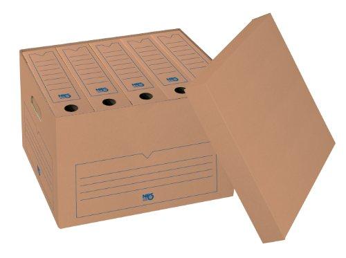 NIPS 153404162 ARCHIV-BOX SELECT mit Deckel, B 44,0 x T 34,5 x H 28,0 cm, 10er Packung, braun/blau