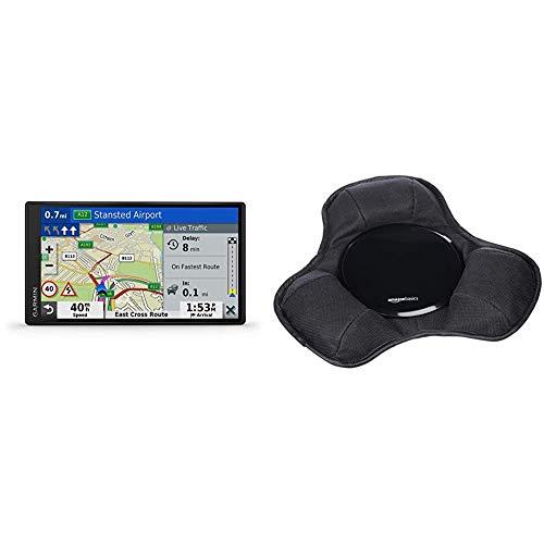 Garmin DriveSmart 65 MT-D EU Navi - extragroßes Touch-Display, 3D-Navigationskarten und Live-Traffic via DAB+ & Amazon Basics - Armaturenbrett-Halterung
