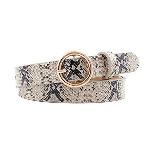 DHDDJS Mode Luipaard Riem Vrouwen Slang Zebra Print Dun Paardenhaar Taille Riem Pu Leer Goud Ring Gesp Riemen Voor Dames Vrouwelijk