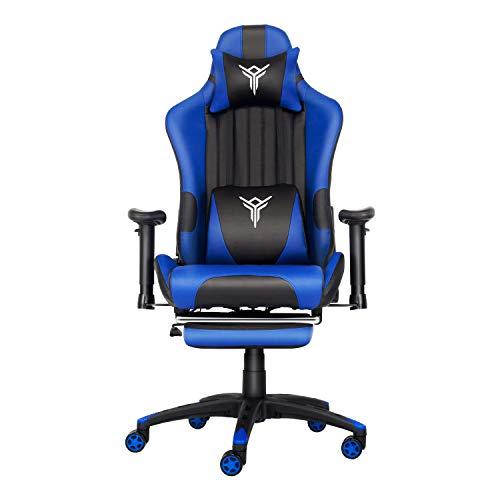 PULUOMIS Massage Racing Gaming Stuhl Bürostuhl Ergonomisches Sportsitz höhenverstellbarer Computerstuhl Chefsessel Schreibtischstuhl mit Kopfstützen, verstellbaren Armlehnen und Fußstützen (Blau)