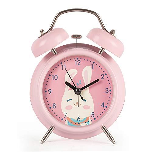 KOROTUS COLLECTION Kinder Wecker, süße Kaninchen Glocke Uhr mit Nachtlicht, lauter Wecker und einfach zu bedienen, Silent Kids Gift-Pink