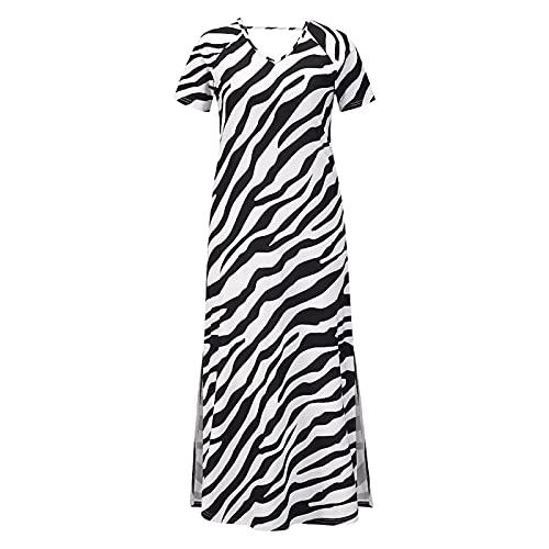 EMPERSTAR Vestido Largo Informal Maxi De Verano para Mujer Vestidos Largos Sin Espalda De Manga Corta Suelta Negro M