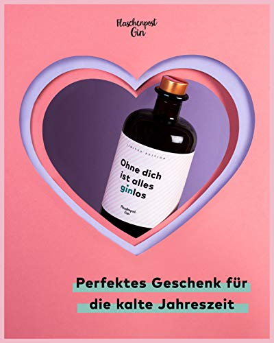 FLASCHENPOST GIN - Ohne dich ist alles ginlos - Love Edition - Handmade Deutscher Premium Gin mit warmen Noten von Vanille und Tonkabohne - 7