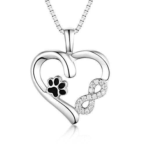 Halskette Silber 925 Damen Kette Silber Tier Pfotenabdruck Unendlichkeit Liebe Herz Anhänger Lange Halskette Silber zu Weihnachten Geschenk Valentinstag Jubiläum Jubiläen