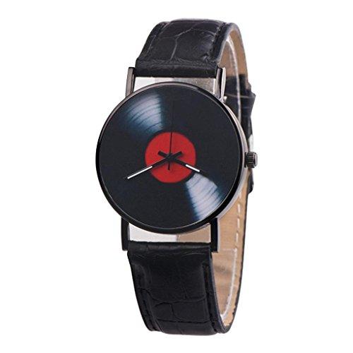Zarupeng Vinyl-Schallplatte Armbanduhr Unisex Retro Lederband Analoge Legierung Quarzuhr (One Size, Black)