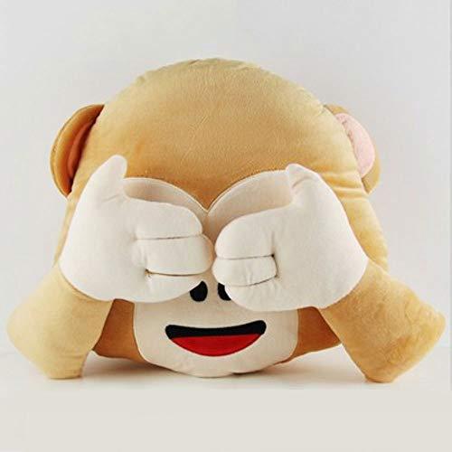 AGOOLZX Monkey Almohada Emoji Mono Lindo Cojín Almohadilla de la Felpa Creativa de los Monos de Juguete de Felpa Asiento del sofá del Asiento de Coche Niño Muñeca de la Almohadilla Suave