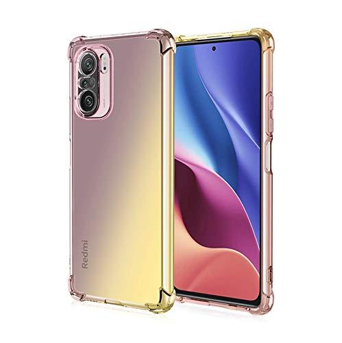 KERUN Funda para Xiaomi Poco M3 Pro 5G | Redmi Note 10 5G, Flexible TPU Protectora de Golpes Transparente Silicona Carcasa, Esquinas Reforzadas Ultra-Delgado Anti-Choque Funda Case (Negro/Oro)