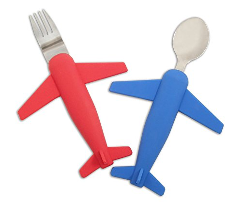 Kids' Airplane Fork & Spoon Set, Stainless Steel & Silicone