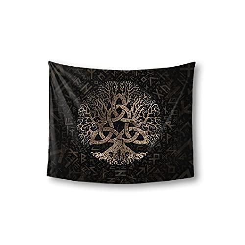 JJLLAZAD Viking Yggdrasil Tapestry Odin Rune Celtic Knot Tapestry Wall Art for Men's Bedroom Decor,Celtic Rune,60x40 Inch