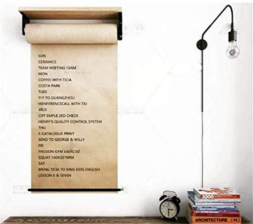 L & WB herbruikbare spoel van kraftpapier voor bureautekens, aan de muur bevestigde houten planken voor kantoorconcepten.