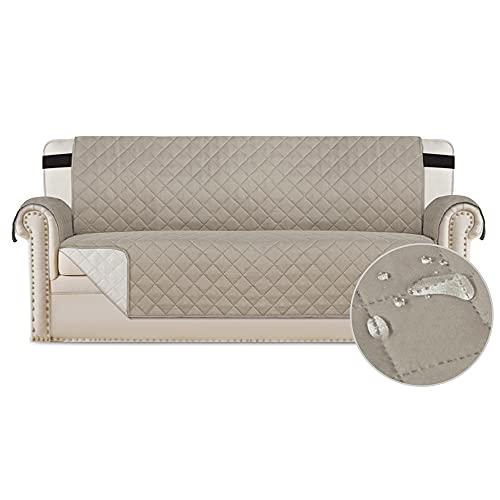 Bestenrose Fundas de silla reclinable impermeables para sillones reclinables con correas elásticas ajustables, lavables y acolchadas, protectores de sofá para niños y mascotas (2 plazas, caqui)