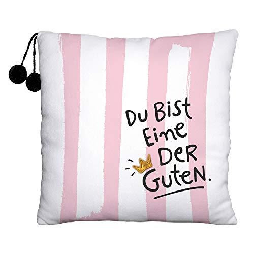 Die Geschenkewelt 45981 Plüsch-Kissen mit Happy Life Design und Spruch, Du bist eine der Guten, Streifen, mit Pompons, 25 cm x 25 cm