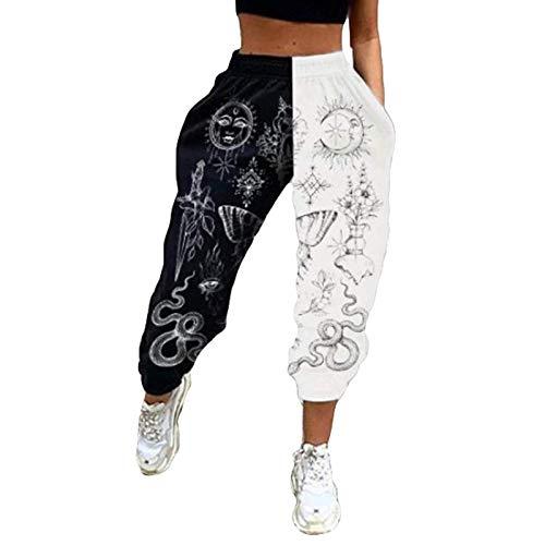 Pantalones deportivos de cintura alta para mujer con bloque de color, ajuste holgado, holgado, deportivo, para gimnasio, ajuste atlético