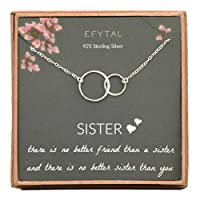 EFYTAL 姉妹からの姉妹へのギフト 925スターリングシルバー ダブルサークルネックレス 姉妹への誕生日ジュエリーギフトネックレス