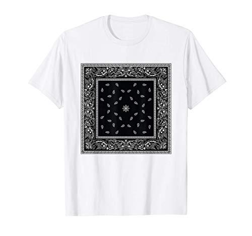 Mens White Black Bandana Print Tee Paisley Pattern T-Shirt