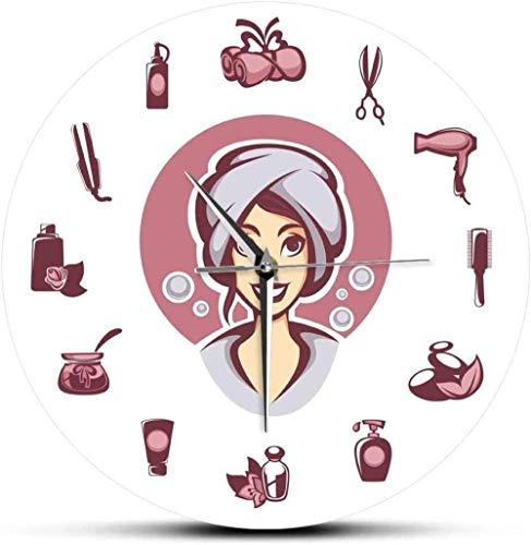 youmengying Co.,ltd Reloj De Pared Peluquería Y Equipo De Salón De SPA No Tick IC Reloj De Pared De Pared Decoración De Salón De Belleza Diseño De Cuidado del Cabello Mesa De Pared 30X30Cm