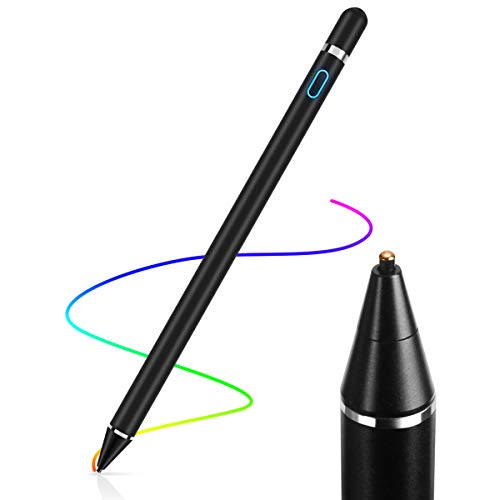 AICase Aktiver Stylus,Tablet Stift Eingabestift Touchstift,1,45-mm-Spitze,Universal Touchscreen-Eingabestift mit integr. Akku, Passend für Smartphones,Tablets,Apple iPhone/iPad,Schwarz