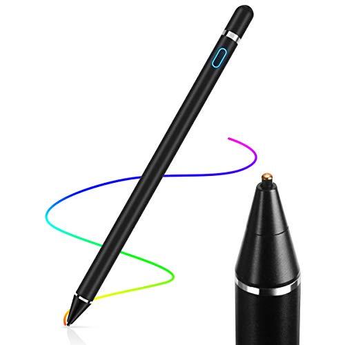 AICase Active Stylus Pen,Penna Capacitiva Attiva, Punta Fine(1.45mm) Active Stylus Stilo Universale per Qualsiasi Touch Screen,10 Ore Continue Work & 30 Giorni di Standby,Nero